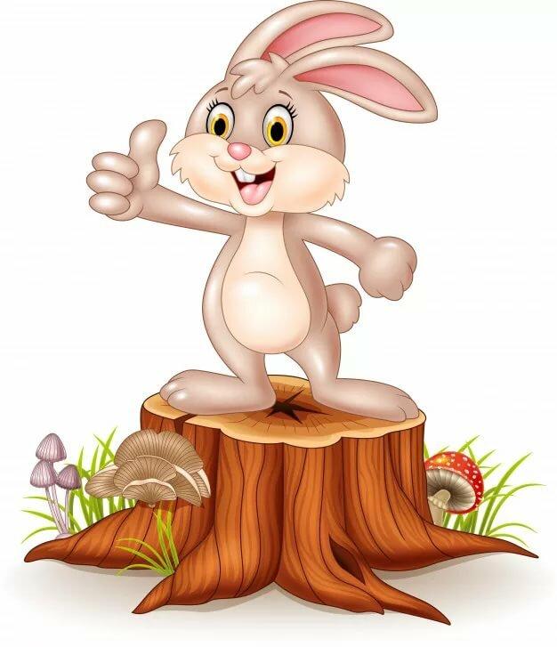 крупное, заяц на пеньке рисунок для тех, кому