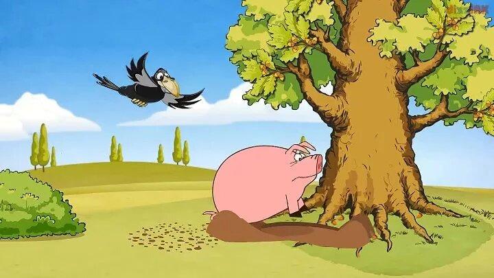 иллюстрация свинья под дубом рисунки которых это