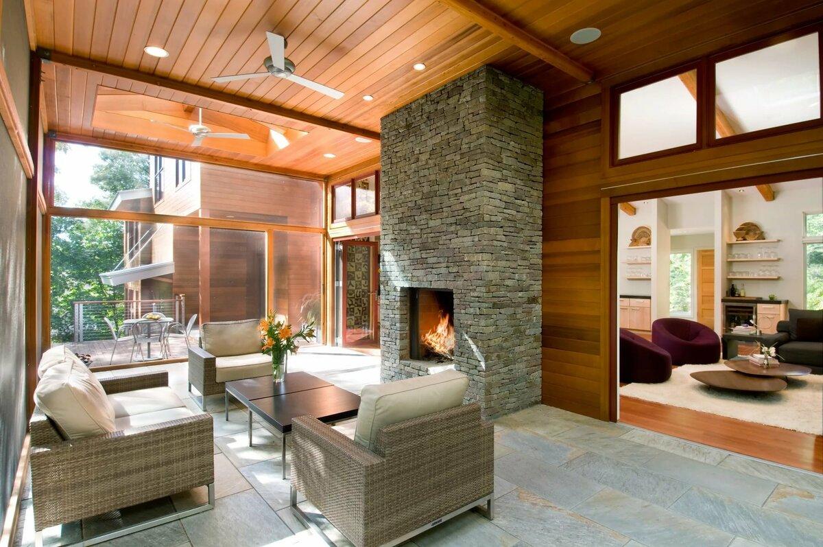 дизайн крытой теплой в частном доме фото картинку