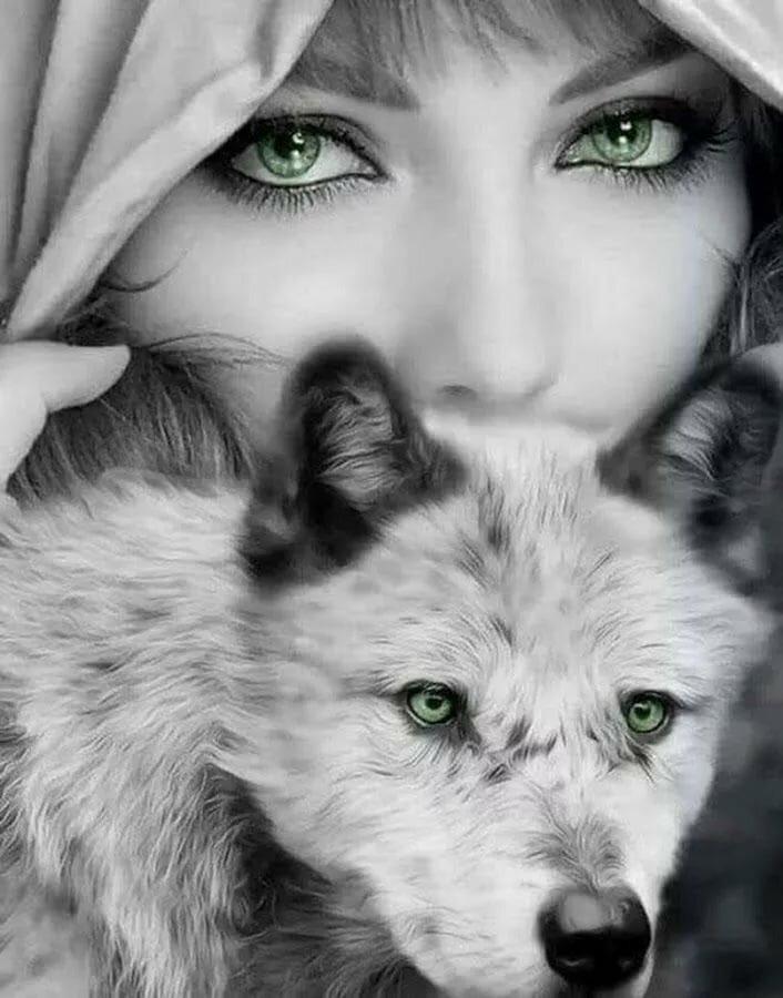 Картинка волка и девушки