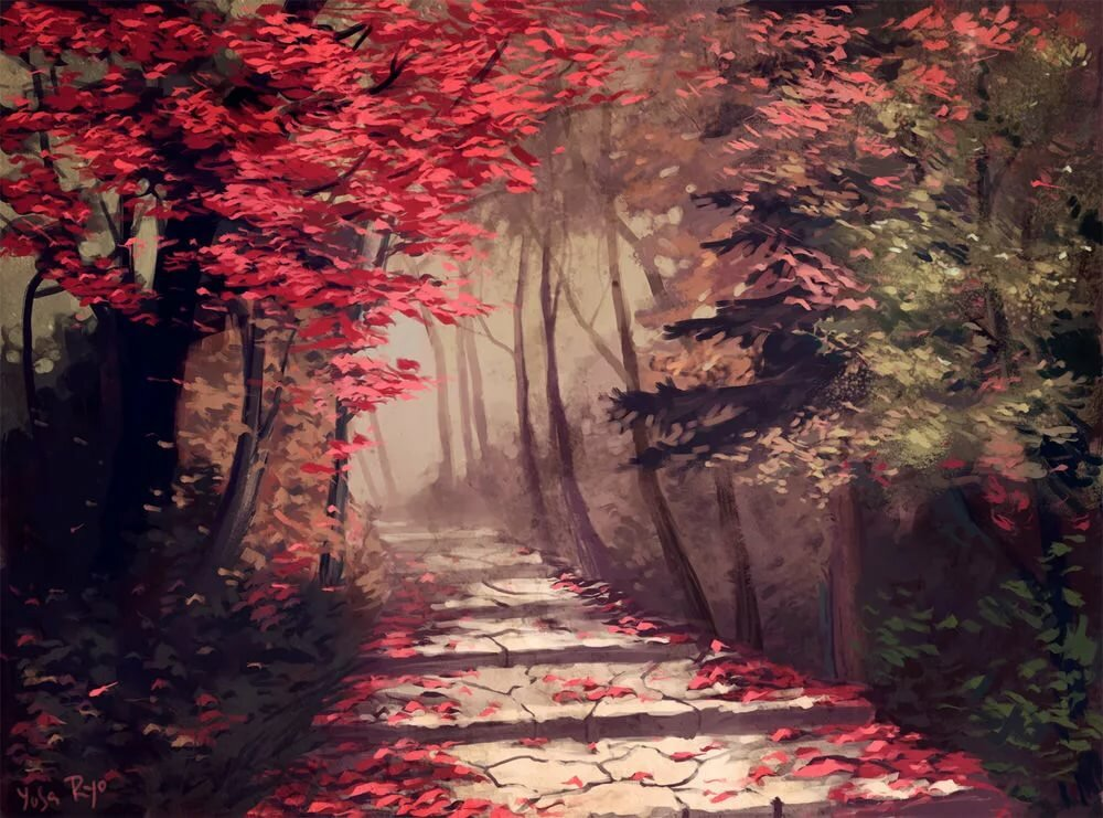 менее красный лес рисунок себя могу