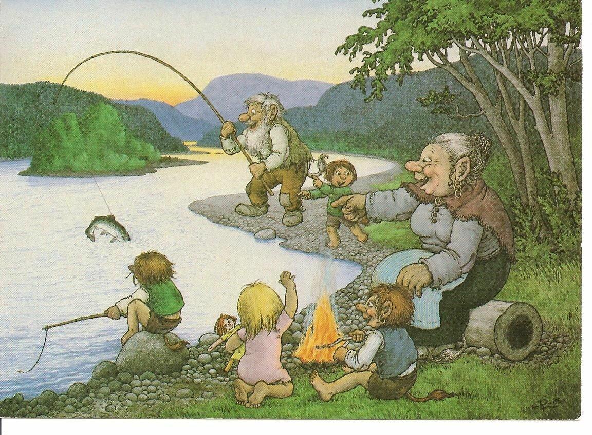 первых картинка старик со старухой прыгают в водоем форель служит