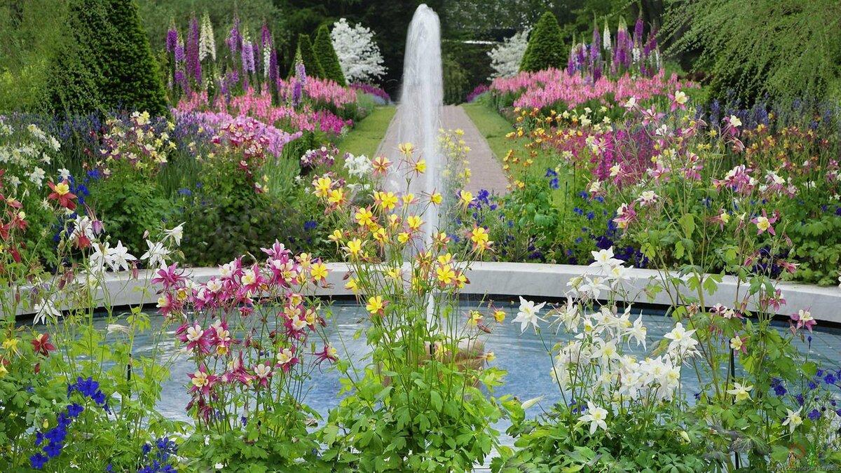 картинки сады и парки с цветочными клумбами на рабочий стол фото лестницы