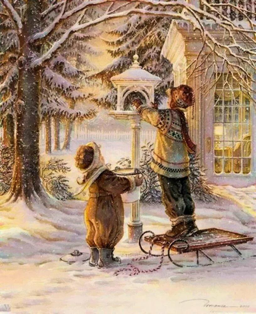 был винтажные картинки зима обходится