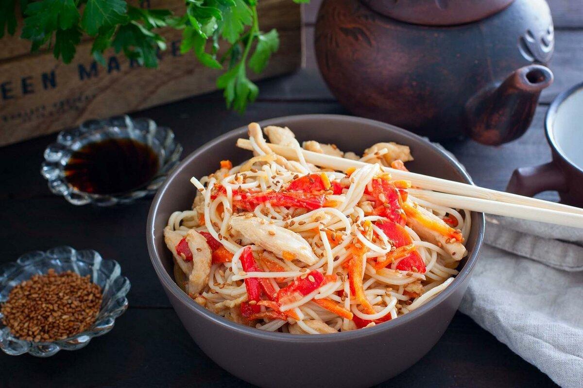 Рисовая лапша рецепты с овощами фото