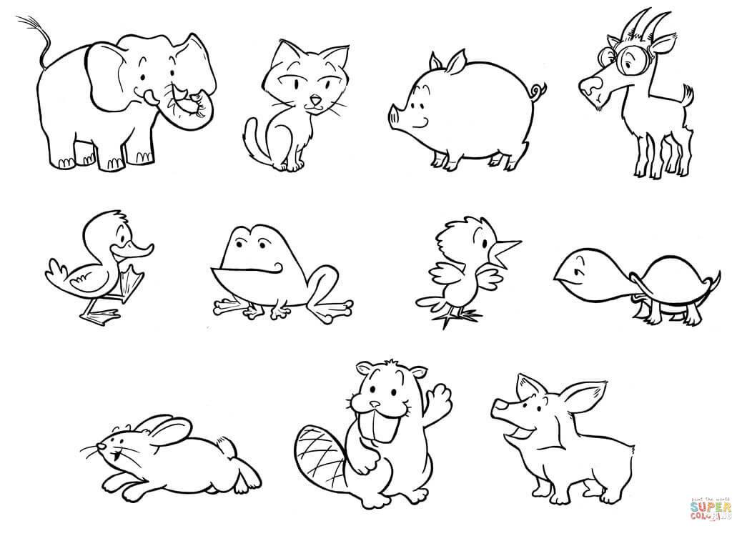 Картинки животных для детей карандашом