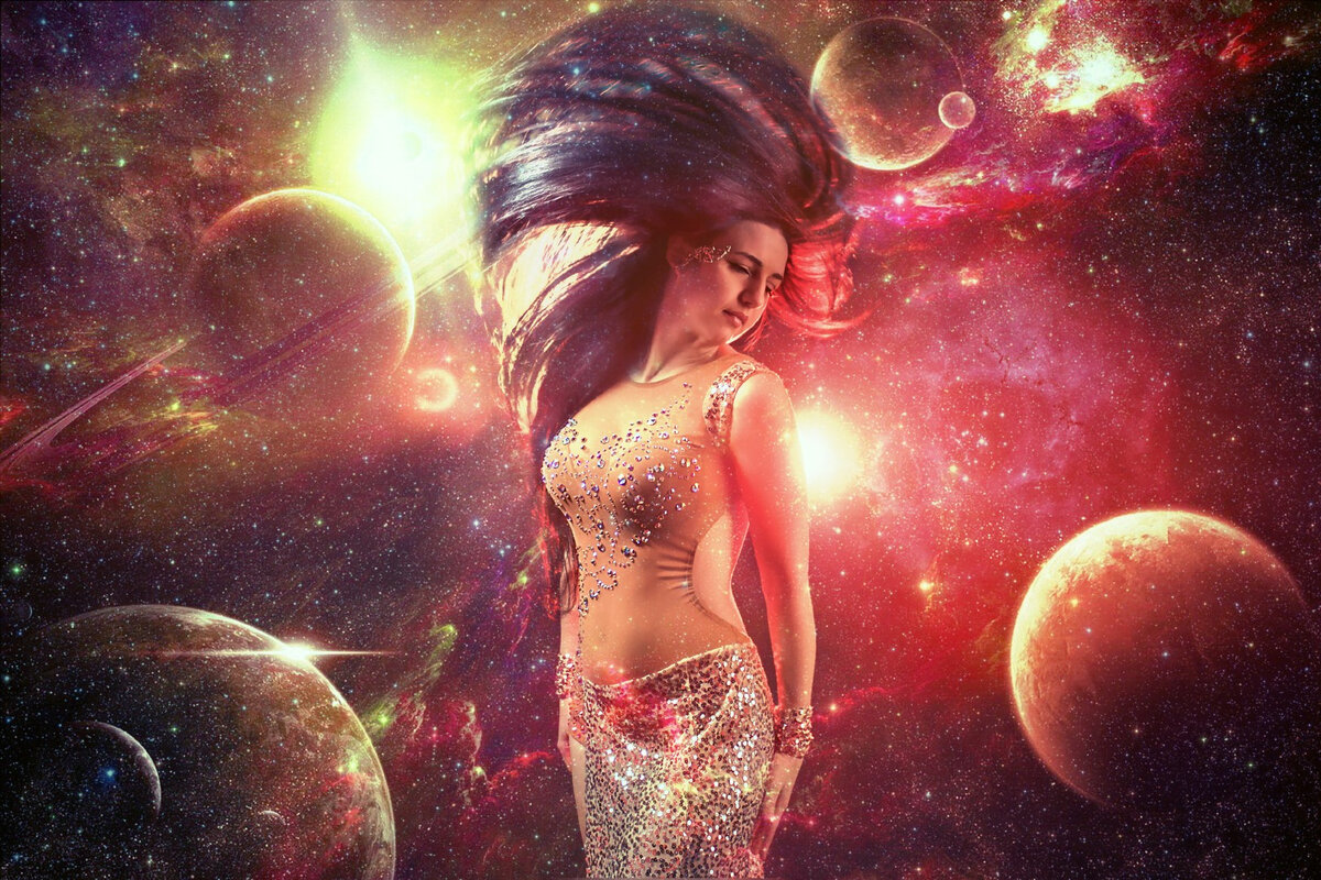 Картинки девушки в космосе