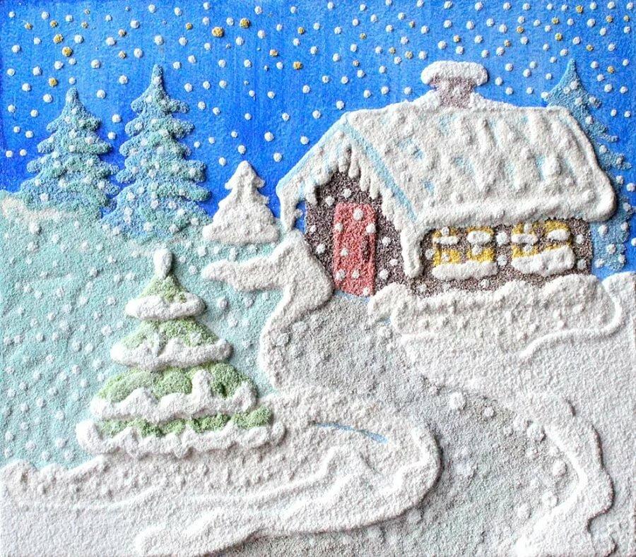Зимняя картинка для детей поделка