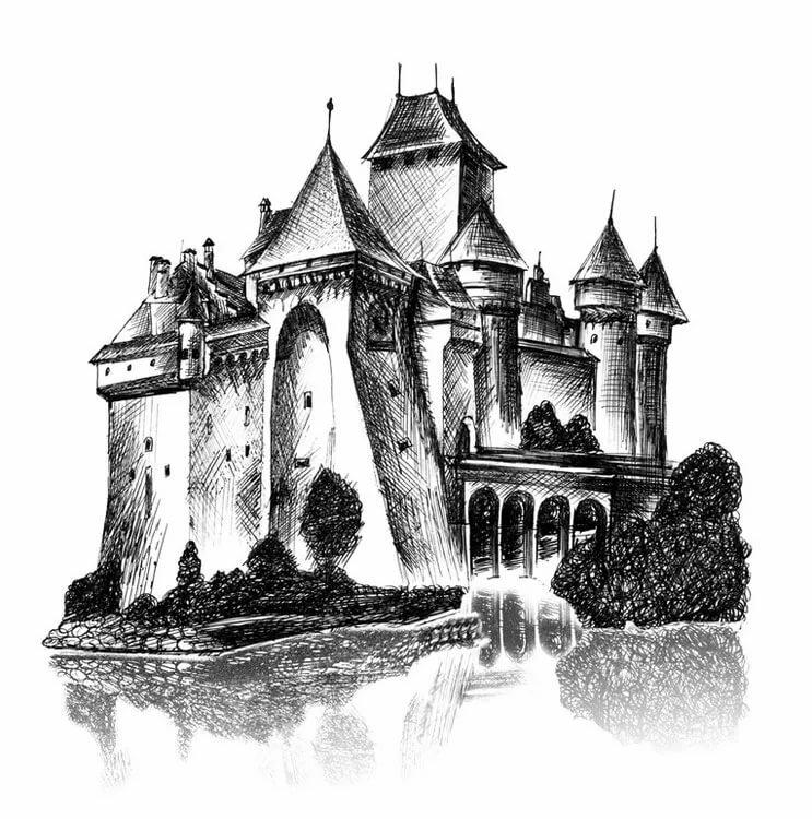 Нарисовать замок карандашом в картинках этого сделать