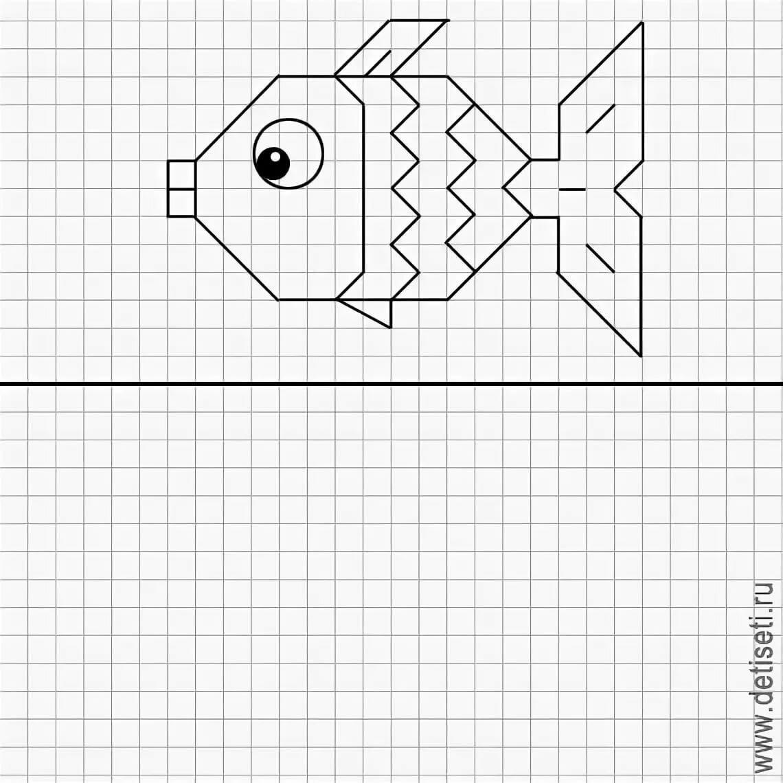 Срисовать картинки карандашом по клеточкам