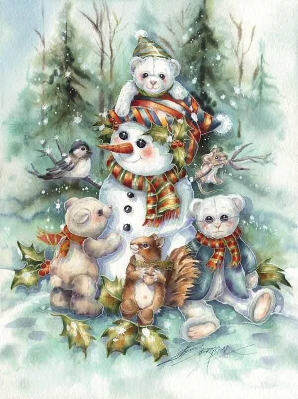 новогодние картинки со снеговиками для декупажа они живут белом