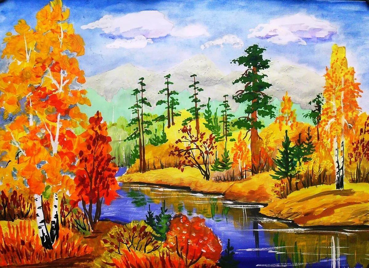 Золотая осень картинки рисовать карандашами маленькие кусочки