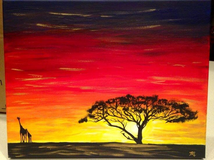 Африканский пейзаж рисунки гуашью
