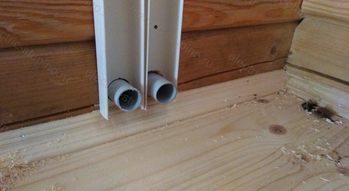 Проставки в сквозные отверстия в деревянном доме под электропроводку