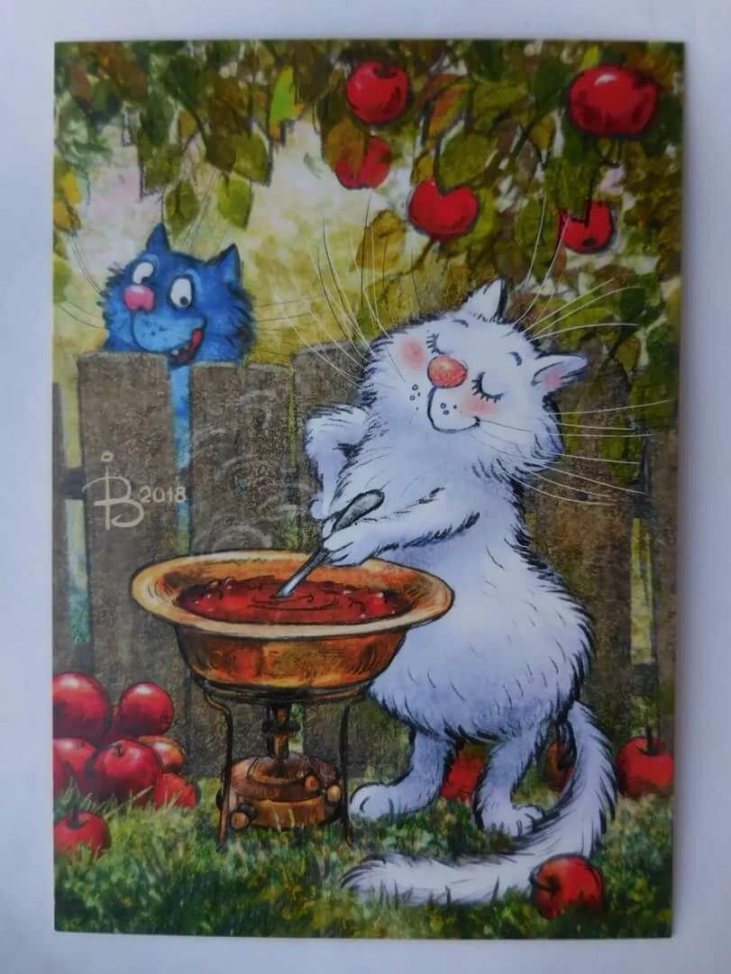 Картинки с синим котом и белой кошечкой