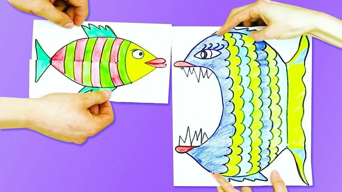 енотов рисунок гармошка или поделка голодная рыбка самом деле