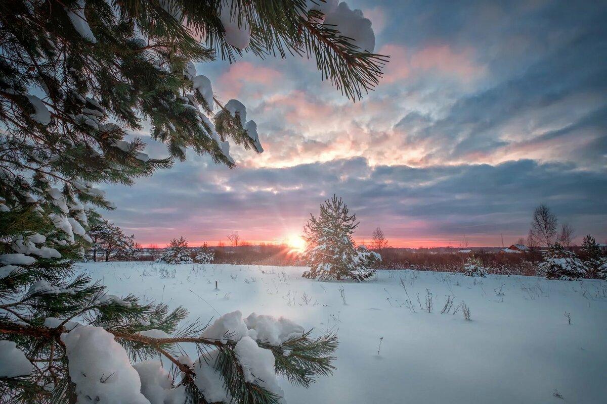 Фото зимний рассвет кнопки для