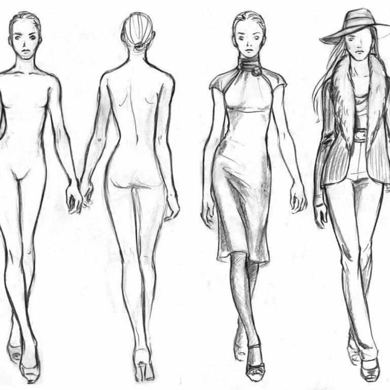 Эскиз фигуры девушки для моделирования одежды