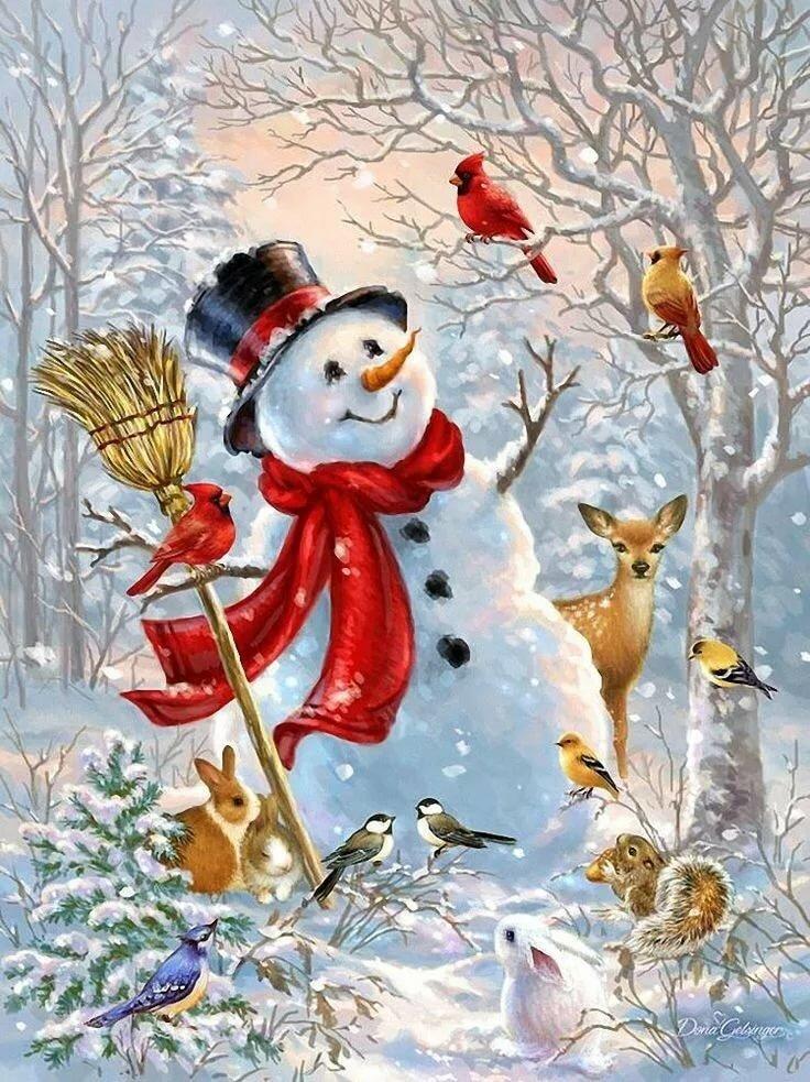 Открытка красивый снеговик