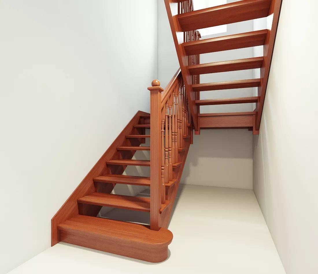 Двухмаршевая левозаходная деревянная лестница фото