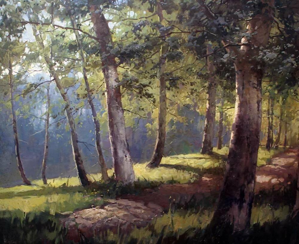 часто картина ручей в лесу шильдера мартиросян