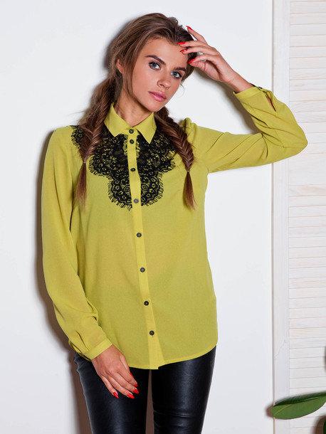 e36171cfd8e Оливковая блуза с длинным рукавом из креп-шифона.» — карточка ...