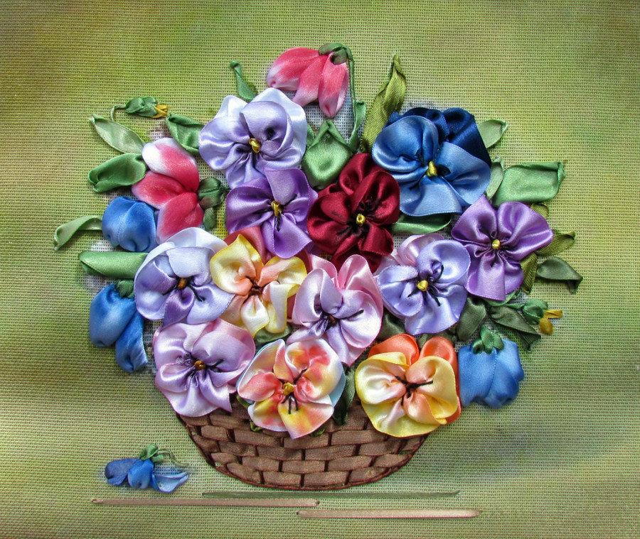 Картинки с цветами из лент