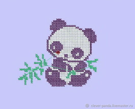 Панда крестиком с веточкой бамбука