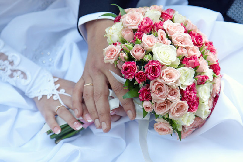 свадебный букет в нежных розовых тонах