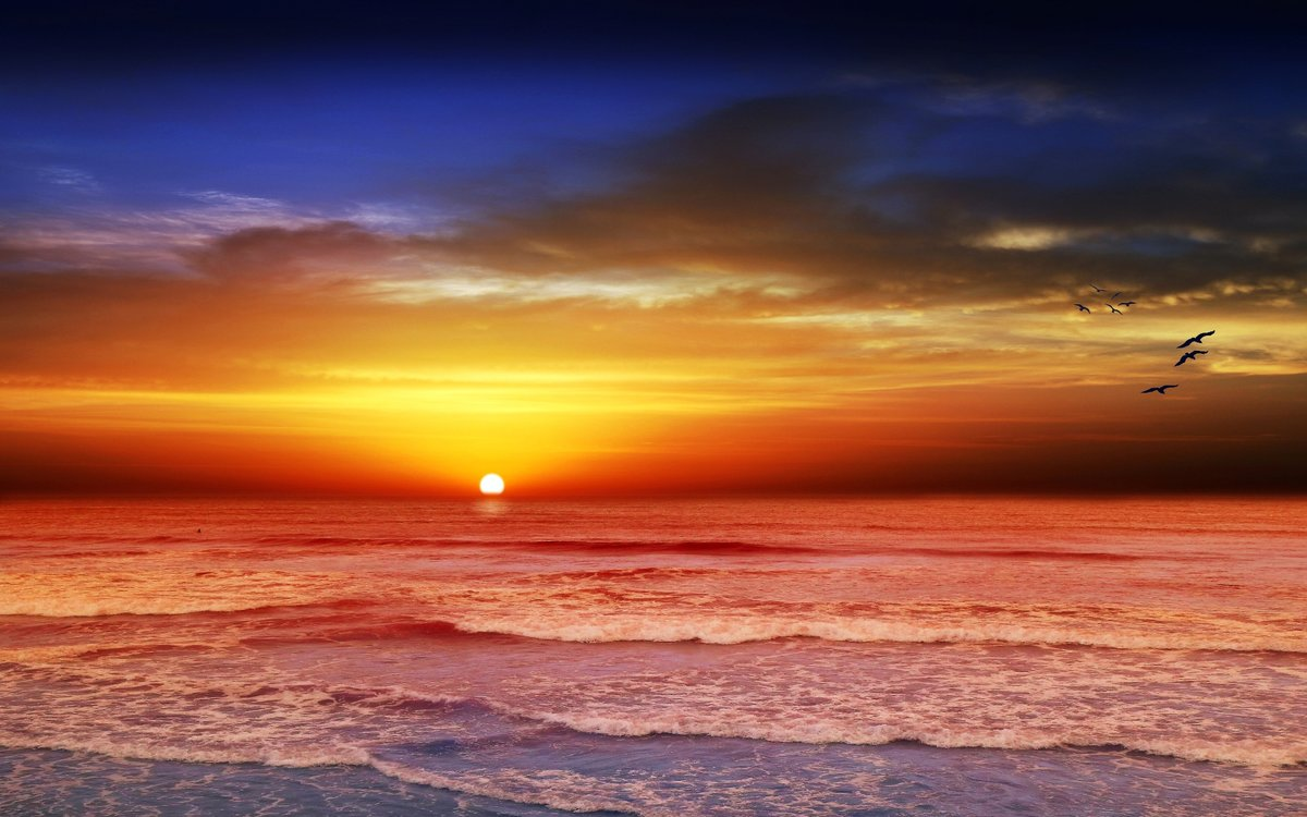Открытка закат над морем