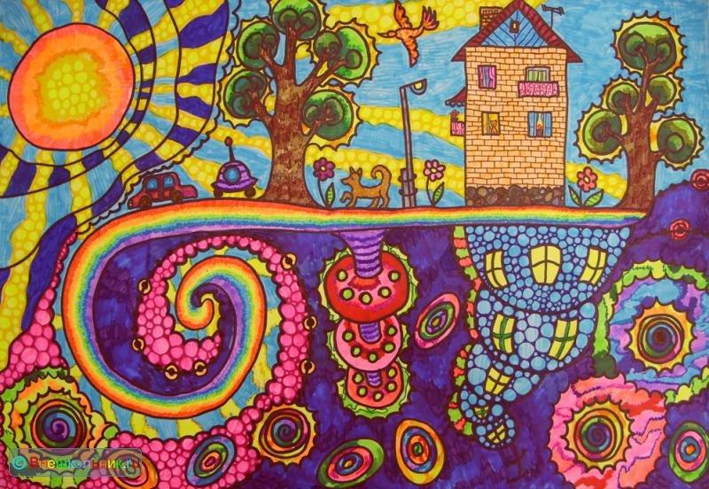 Рисунок фломастерами для детей картинки