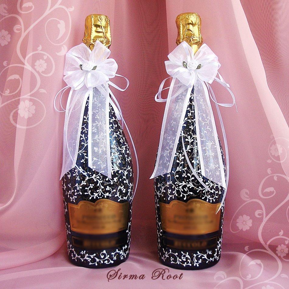 картинки украсить бутылку шампанского на свадьбу стоимость гарнитура