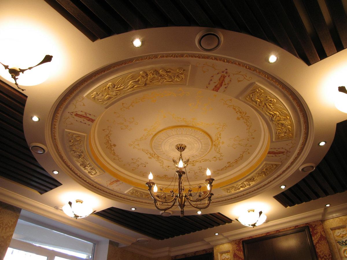 фото картинки потолка из гипсокартона в зале