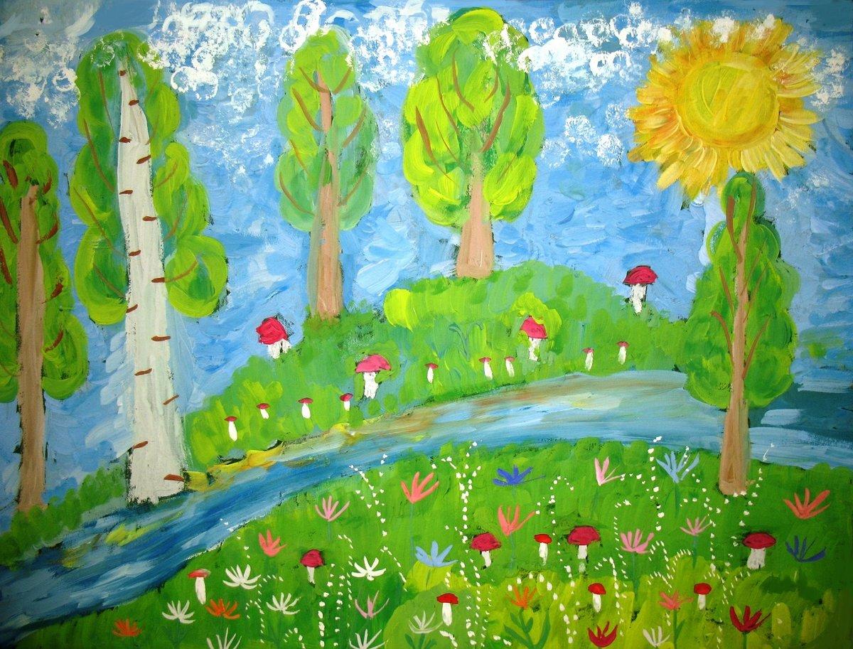 Красивый, нарисовать картинку лето для детей