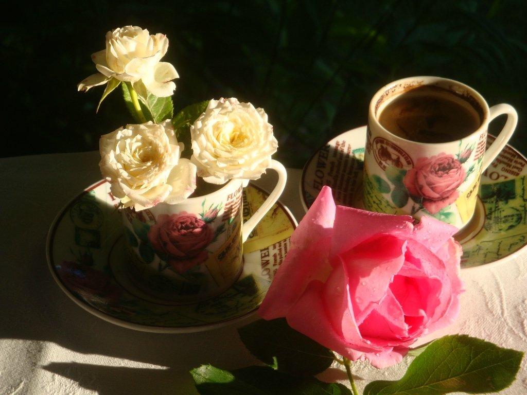 Зделать, доброе утро картинки красивые цветы и кофе
