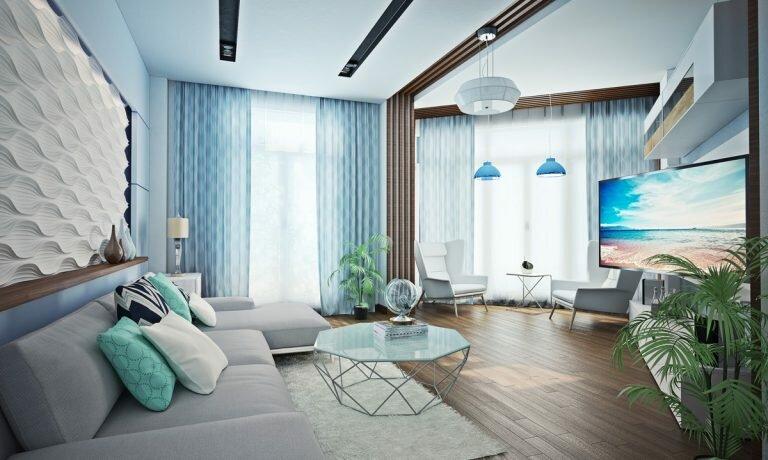 Если для оформления интерьера выбрать морскую стилистику, то это придаст формам лаконичность, а помещение приобретет дополнительную просторность и свободу.