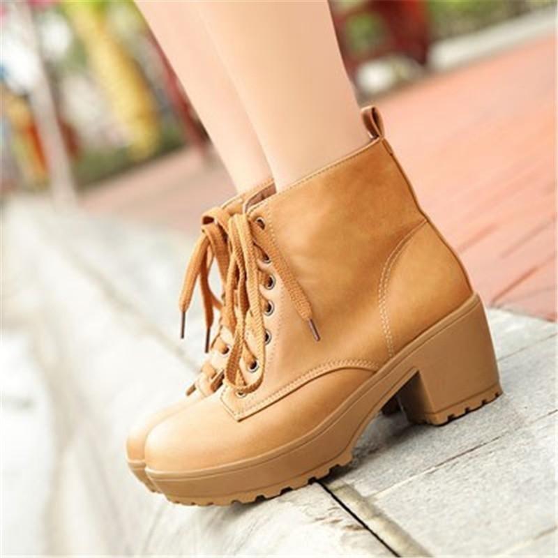ботинки на платформе женские коричневые на ноге