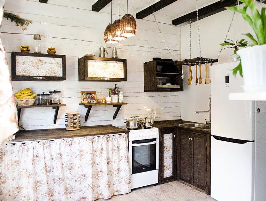 красивый и современный дизайн кухни в загородном доме интерьер