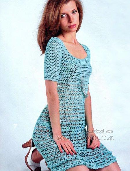 d64859e8095 Женское вязаное крючком ажурное платье с описанием. » — карточка ...
