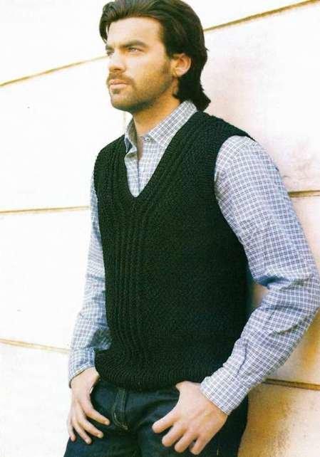 Грузии вязаный жилет для мужчины спицами модели