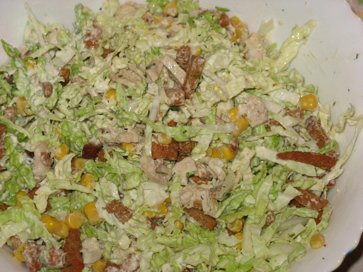 салат с сухариками с капустой рецепт