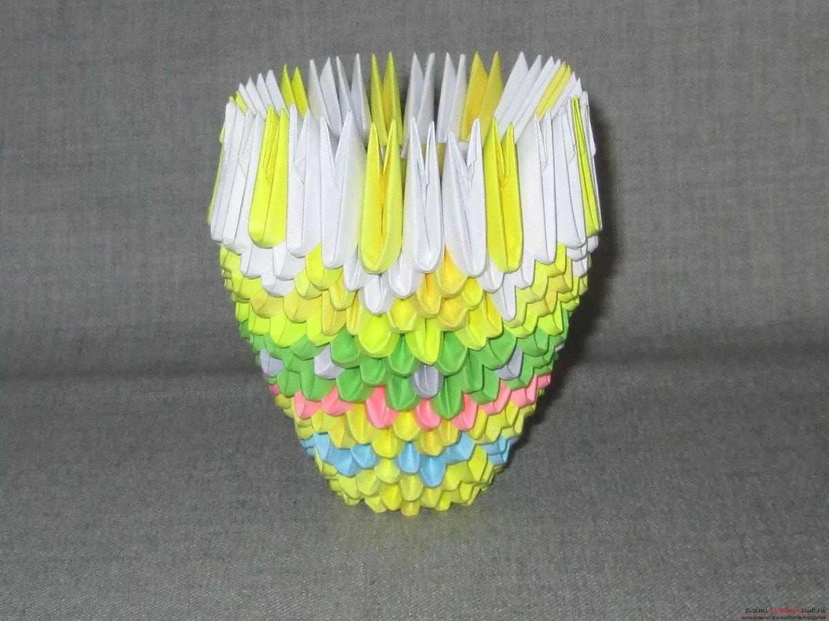 Ваза из оригами в картинках