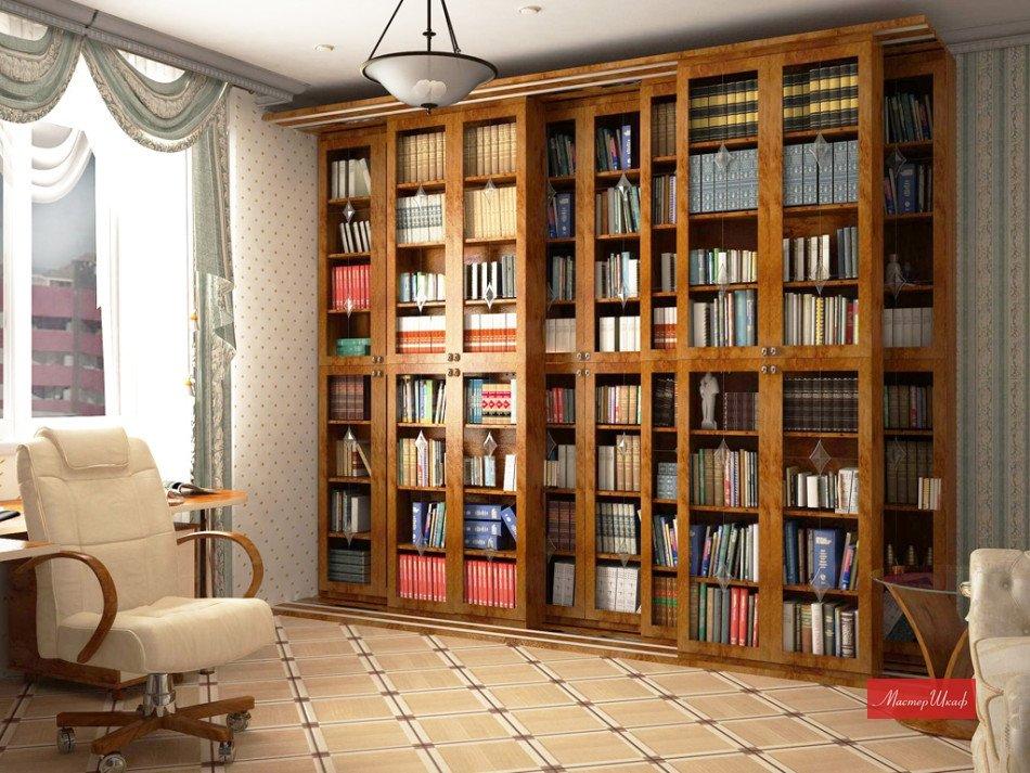 """Красивый книжный шкаф во всю высоту стены красиво выглядит """"."""