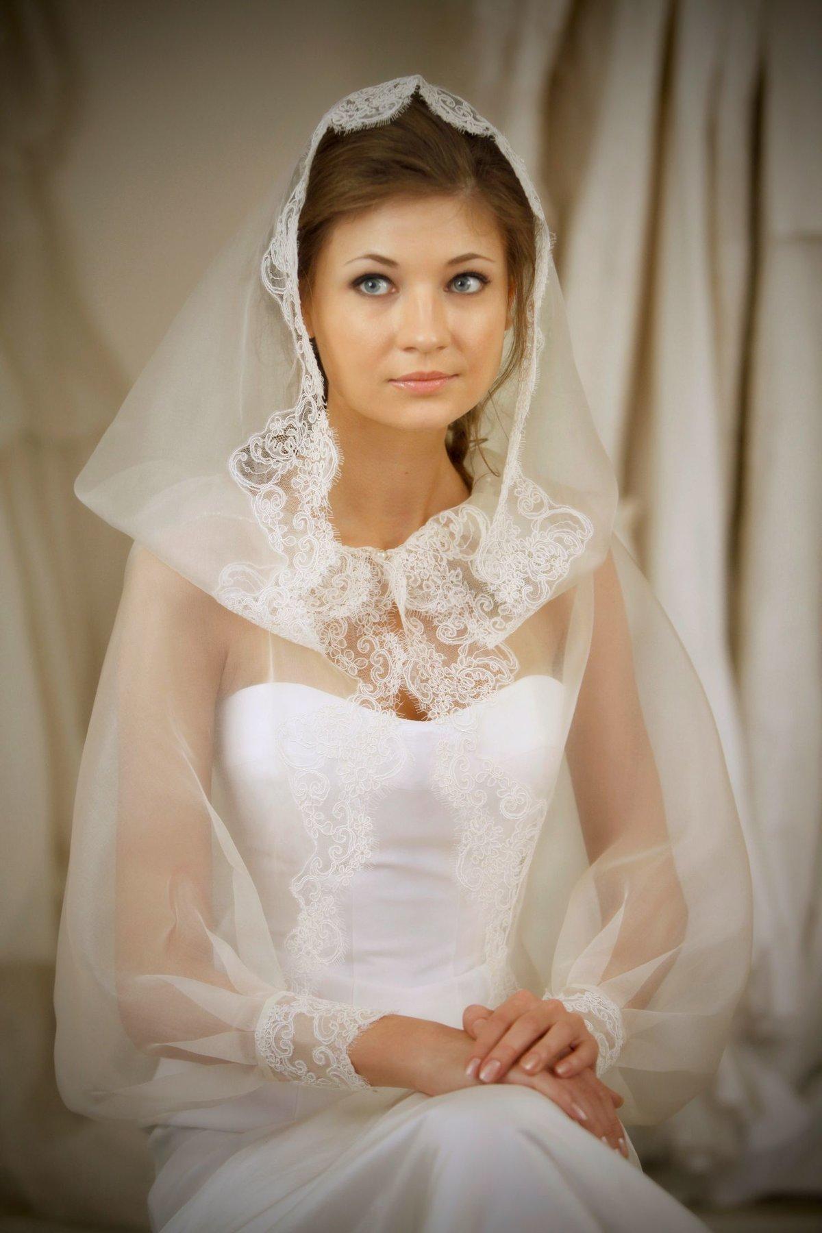 Накидки вместо фаты для венчания фото