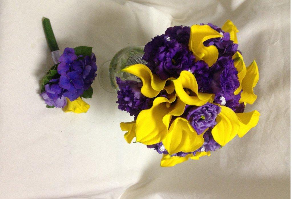 Букета, букет фиолетовых и желтых