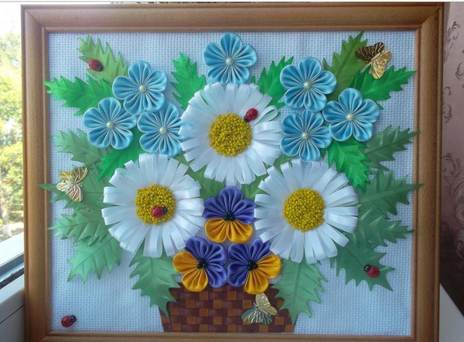 Днем рождения, открытки из атласных лент к 8 марта ромашки и розы