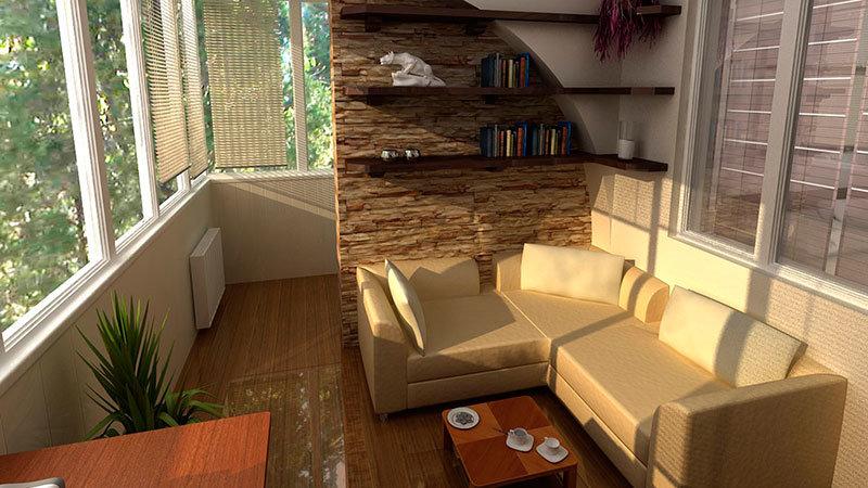 Совмещенный балкон - дизайн фото.
