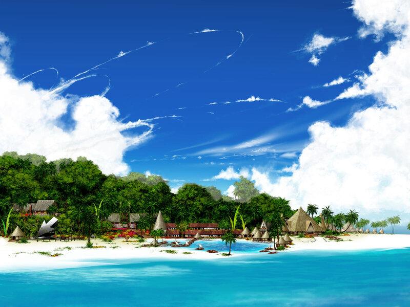 лето, пляж, пальмы