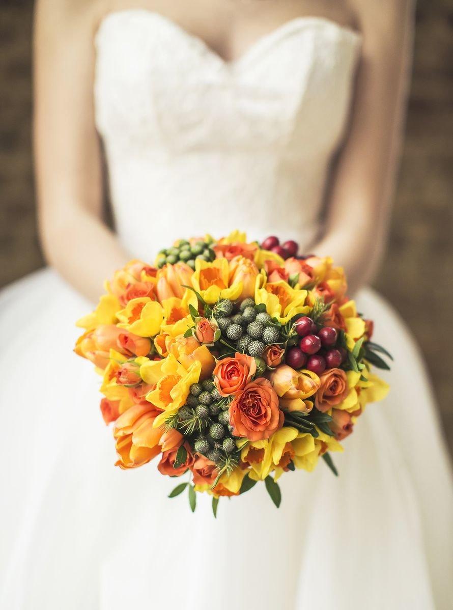 Осенний букет, желто оранжевый букет невесты