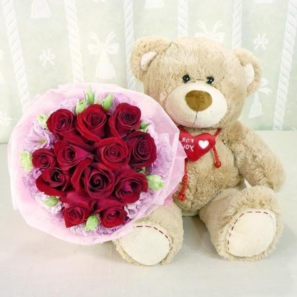 Поздравления для, красивые картинки с мягкими игрушками и цветами